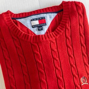 Vintage Tommy Hilfiger Red Cable Knit Sweater